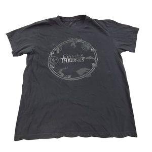 Game of Thrones Tee M Black Graphic Logo Short Sle